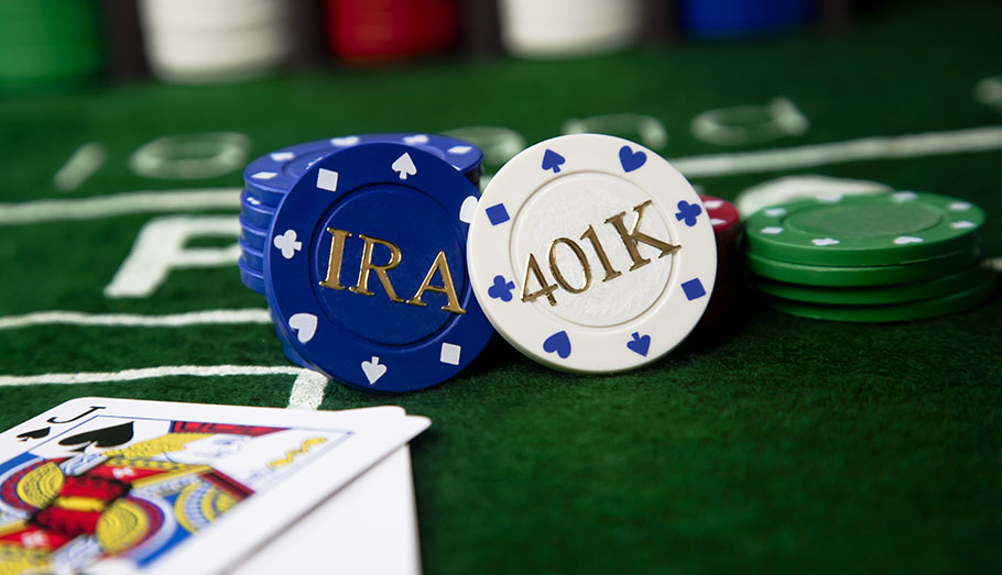 Poker chips labelled as 401K.